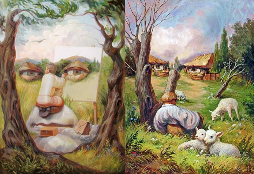 Seamless optical illusion pictures paintings and art painting optical