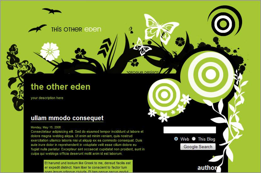 other eden blogger blogspot template