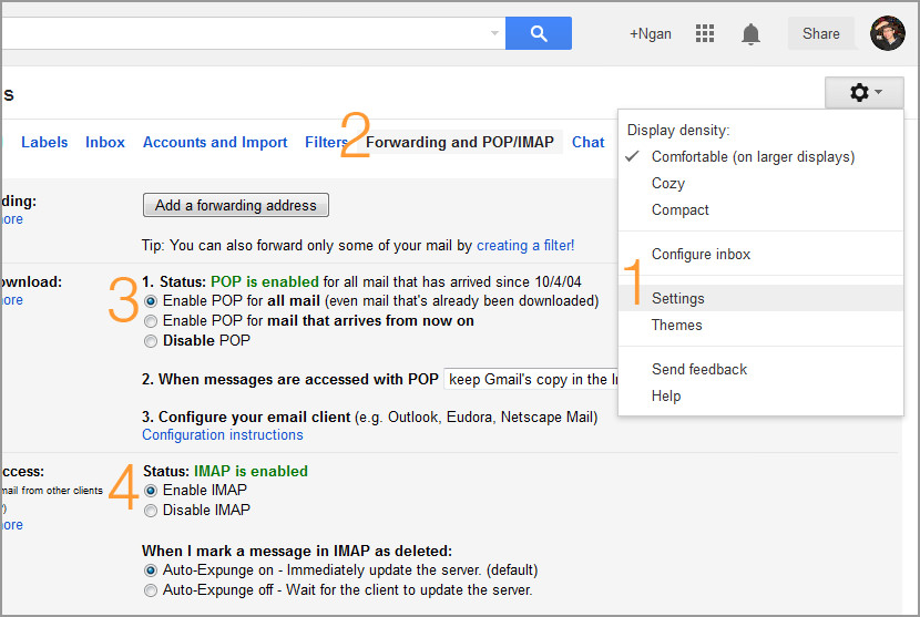How To Setup Gmail POP / IMAP Server Access For Outlook and Thunderbird