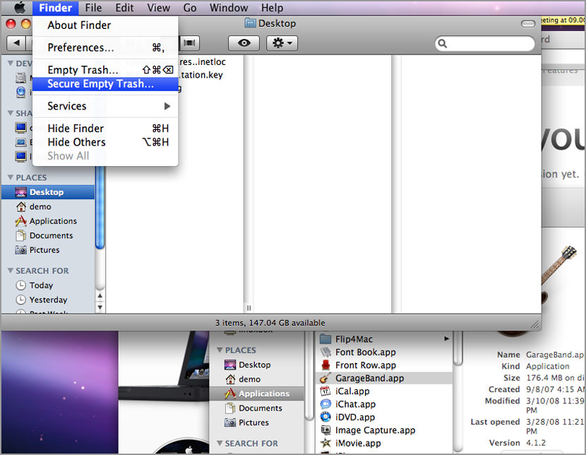 Secure Empty Trash and Delete Files in Mac OS X Snow Leopard