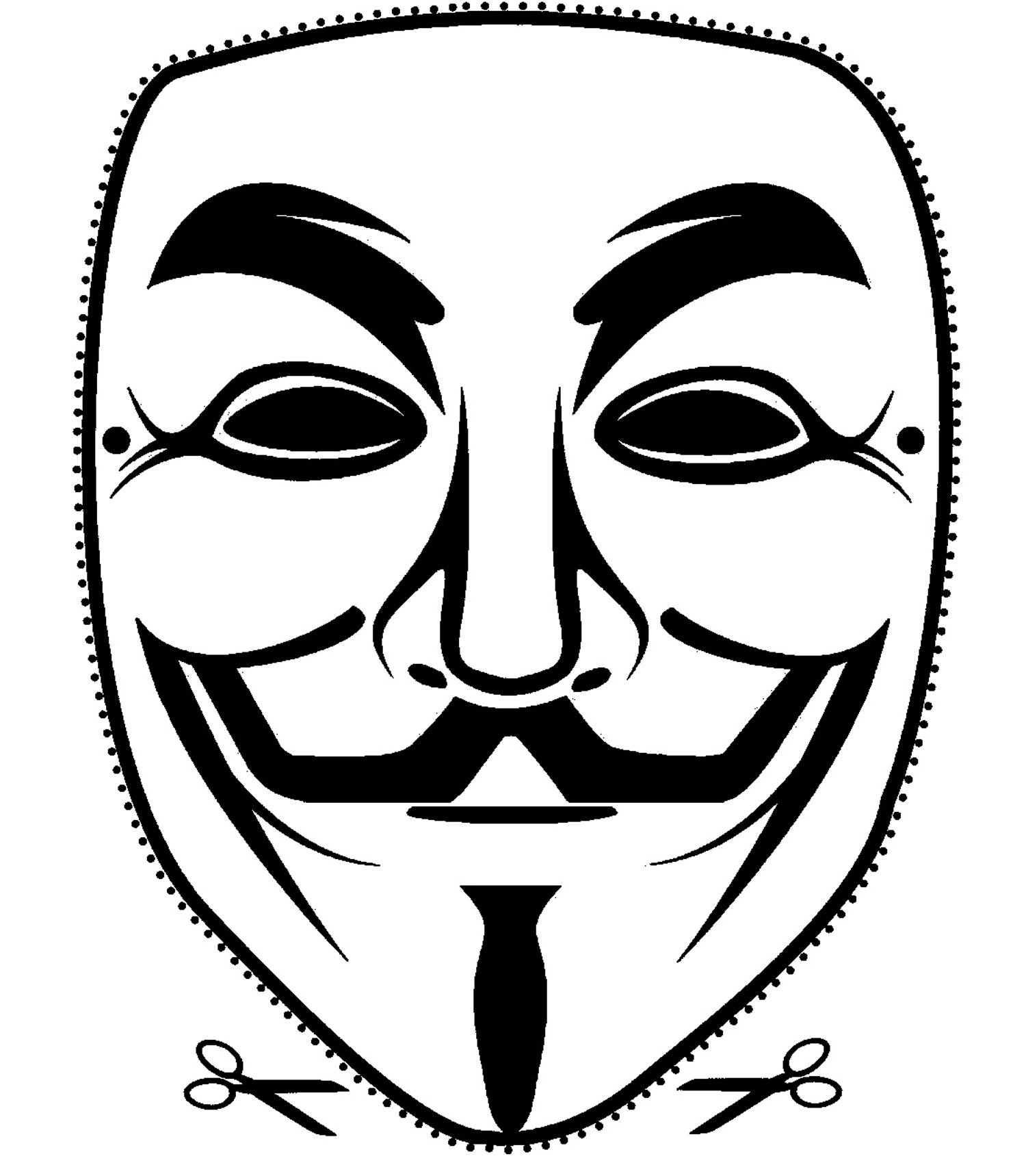 High Quality Printable Vendetta Guy Fawkes Mask Cut Out