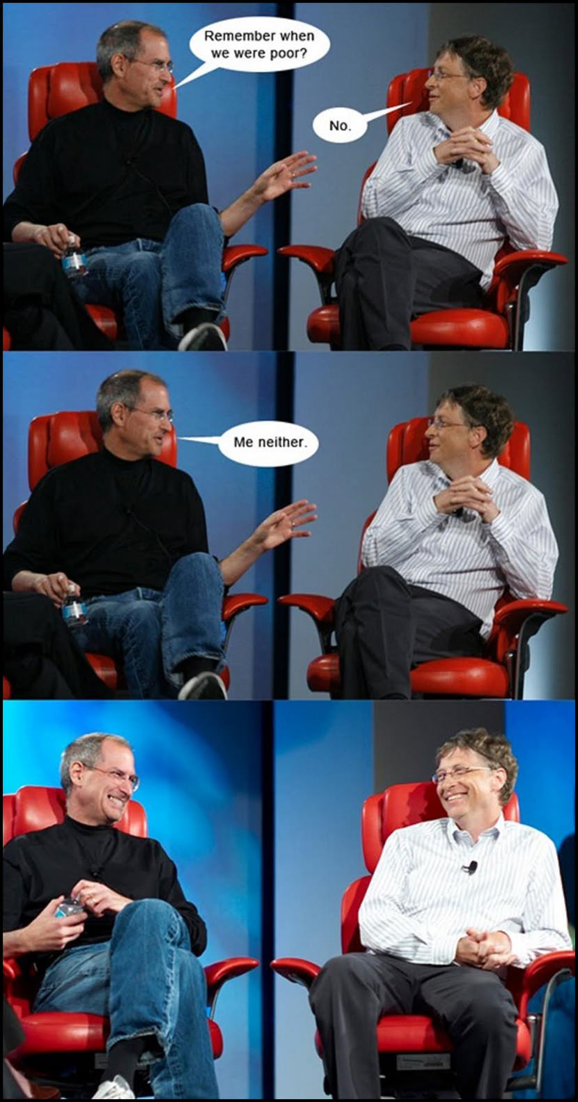 Steve Jobs comes from a middle class family while Bill Gates comes from a upper class family.