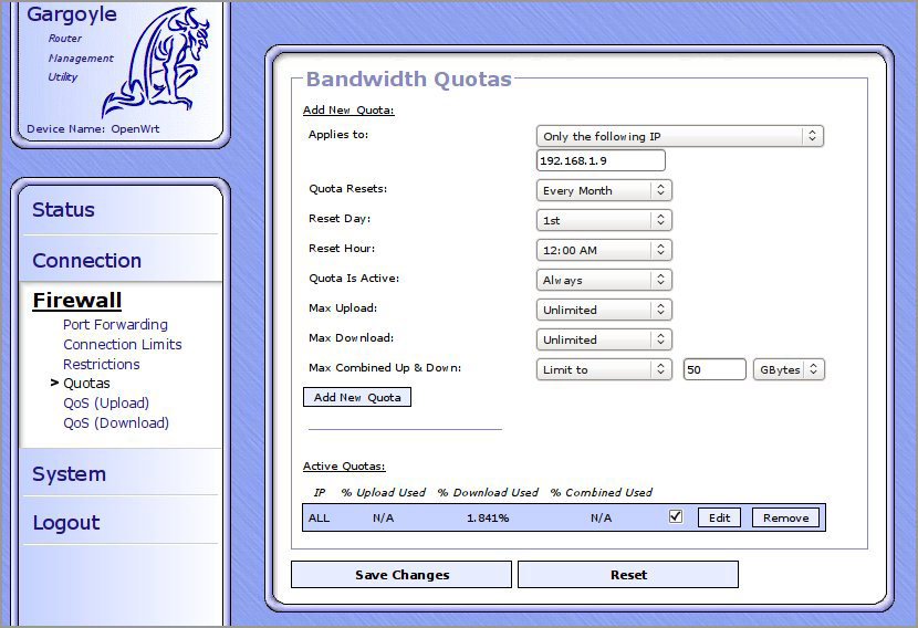 gargoyle wireless router bandwidth quota mb