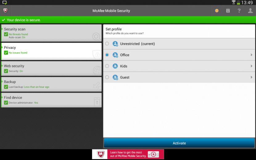 McAfee Mobile Security Screen Shots