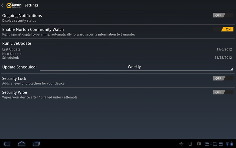 Screen Shots of the Antivirus on Samsung and Sony Tablets