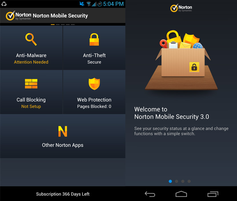 norton mobile security android Screen Shots of the Antivirus on Samsung and Sony Tablets