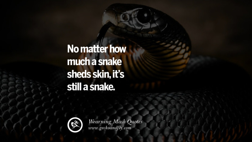 No matter how much a snake sheds skin, it's still a snake.