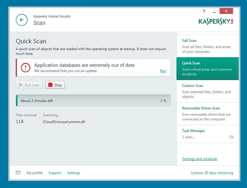 Kaspersky Internet Security The Quick Scan was pretty quick, no malwares was detected.
