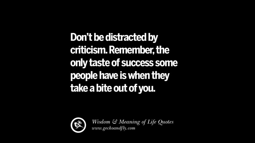 Don't be distracted by criticism. Remember, the only taste of success some people have it when they take a bite out of you.