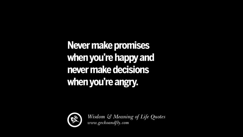 Never make promises when you're happy and never make decisions when you're angry. funny wise quotes about life tumblr instagram wisdom Funny Eye Opening Quotes About Wisdom And Life twitter reddit facebook pinterest tumblr