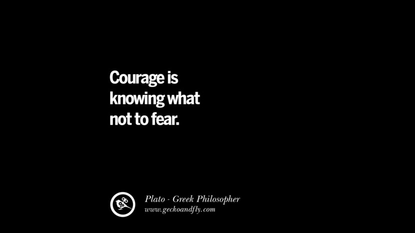 Courage is knowing what not to fear. Quote by Plato