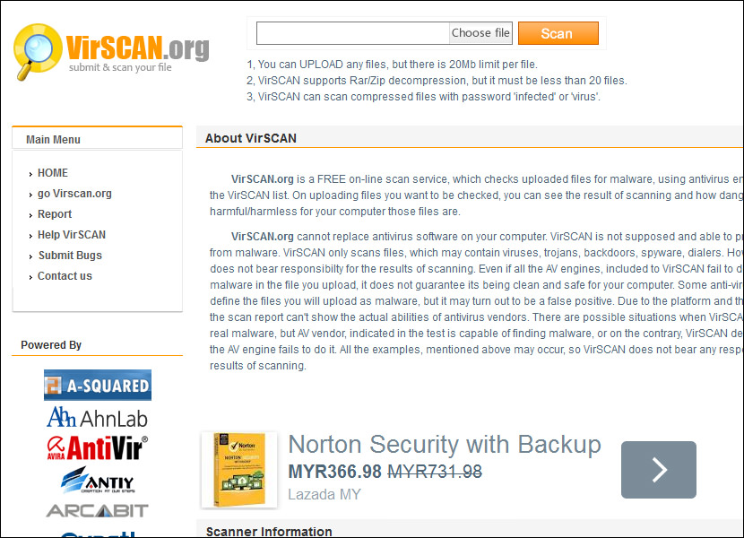 virscan online web scanner Online Computer Virus Scanner, Upload and Scan Suspicious Files with Multi Antivirus Engine