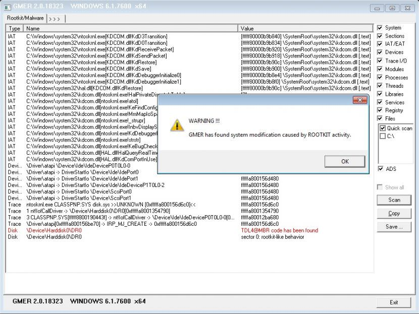 gmer Free Rootkit, Trojan Horse, Virus And Spyware Remover