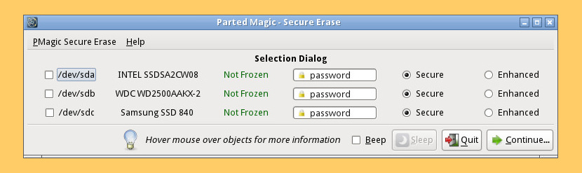 Parted Magic Secure Erase