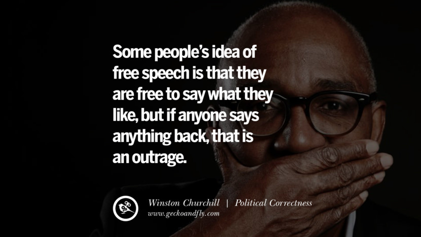 Some people's idea of free speech is that they are free to say what they like, but if anyone says anything back, that is an outrage. - Winston Churchill Anti Political Correctness Quotes And The Negative Effects On Society