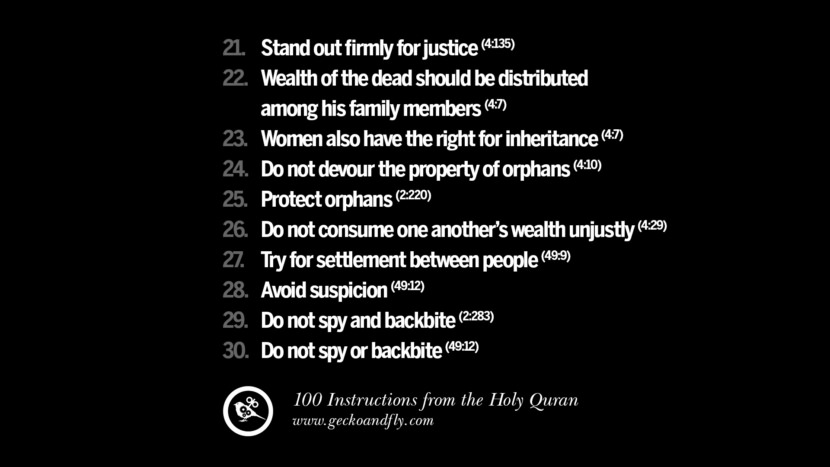 Stand out firmly for justice Wealth of the dead should be distributed among his family members Women also have the right for inheritance Do not devour the property of orphans Protect orphans Do not consume one another's wealth unjustly Try for settlement between people Avoid suspicion Do not spy and backbite Do not spy or backbite Instructions By God In The Holy Quran For Mankind Muslim Islam Quotes