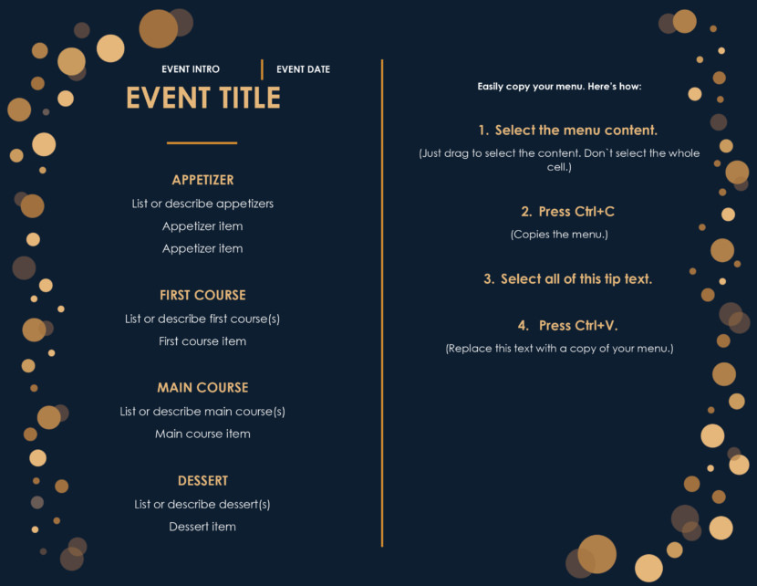 black events Free Simple Menu Templates For Restaurants