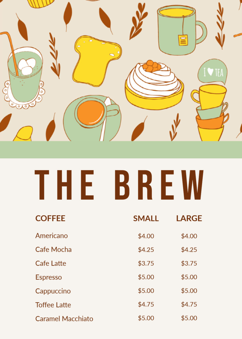 coffee cafe Free Simple Menu Templates For Restaurants