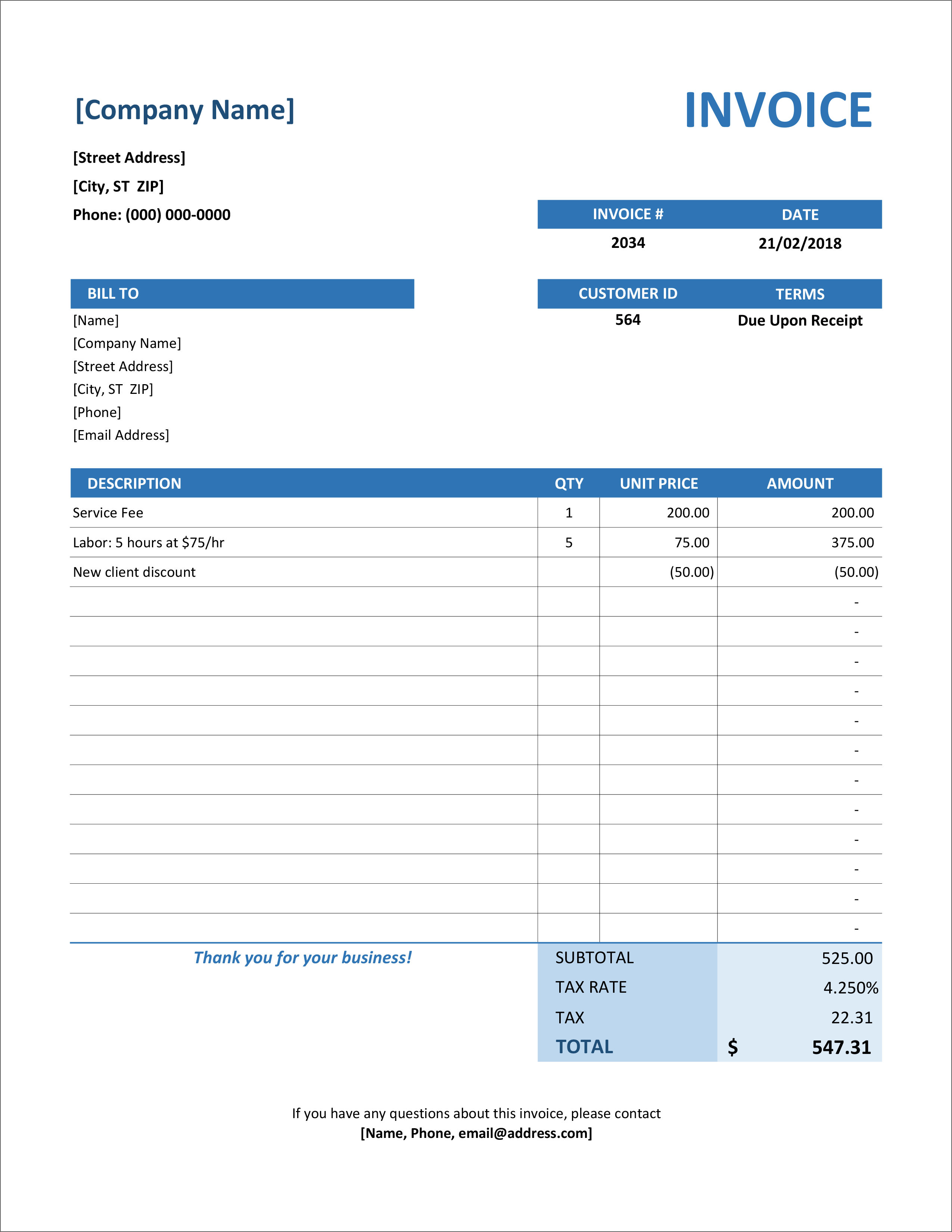 32 Free Invoice Templates In Microsoft Excel And Docx Formats