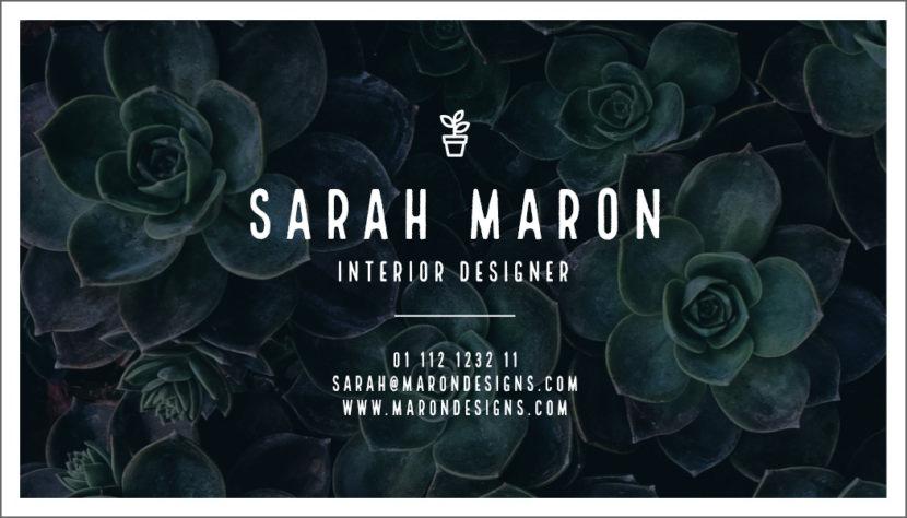 Screenshot of blank interior design Business Card Template