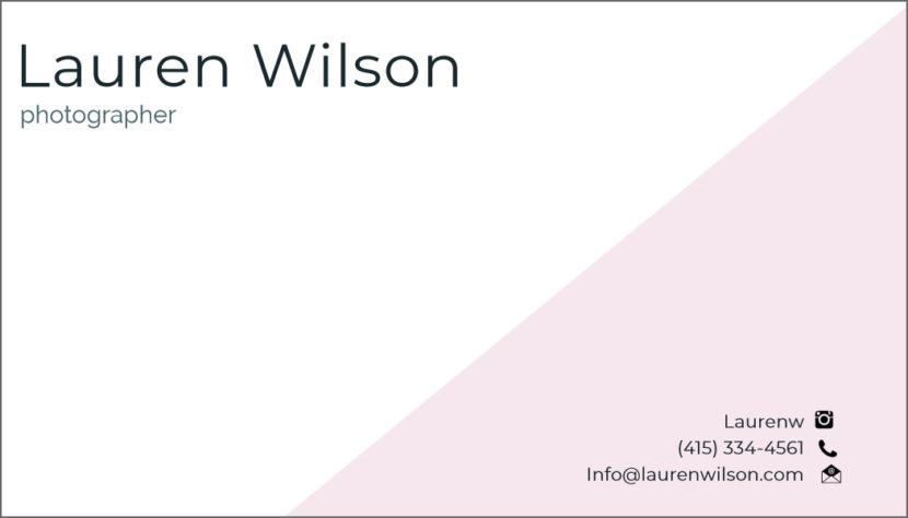 Screenshot of blank Photographer Business Card Template