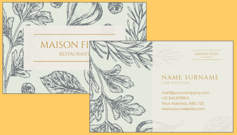 Screenshot of blank Floral Business Card Template
