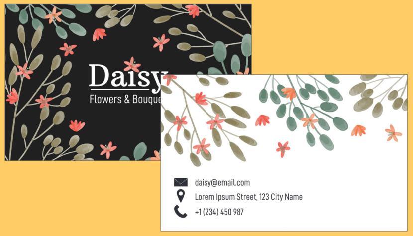 Screenshot of blank Flower Bouquet Business Card Template