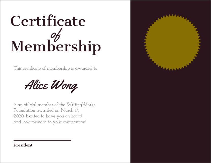 Screenshot of blank job excellence certificate template