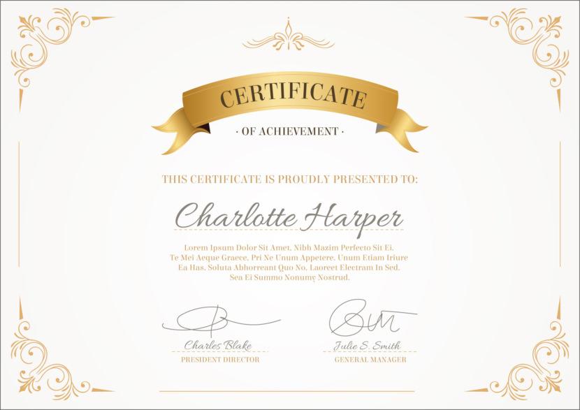 Certificate of Achievement Blank Certificate Templates
