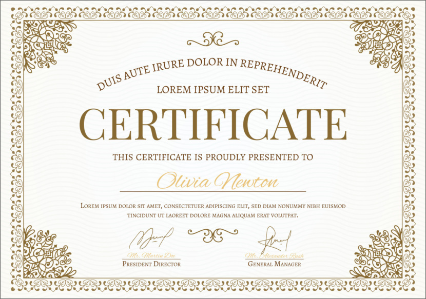 Classical Ornament Blank Certificate Templates