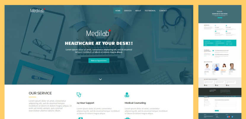 Medilab is a clean, free, responsive bootstrap template perfect for hospital, doctors, clinic, medical, health and more. This is a fully dynamic, well structured, easy to use and beautiful free HTML5 template.