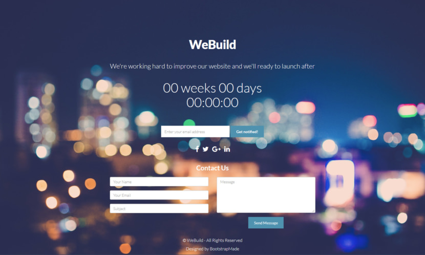 WeBuild is a bootstrap 3 coming soon template. Simple, flat and minimal design with jQuery countdown and polygonal background.