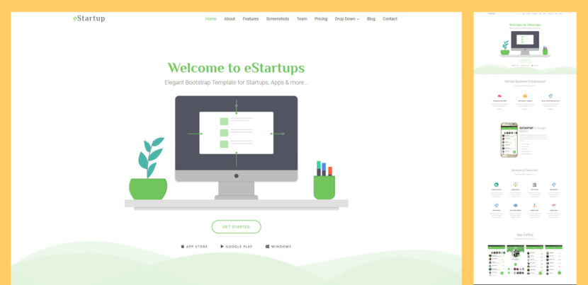 eStartup is an elegant and modern Bootstrap template for creating websites for startups, apps websites and more. It comes with many customisable and reusable elements that are designed to fit as many purposes as possible.