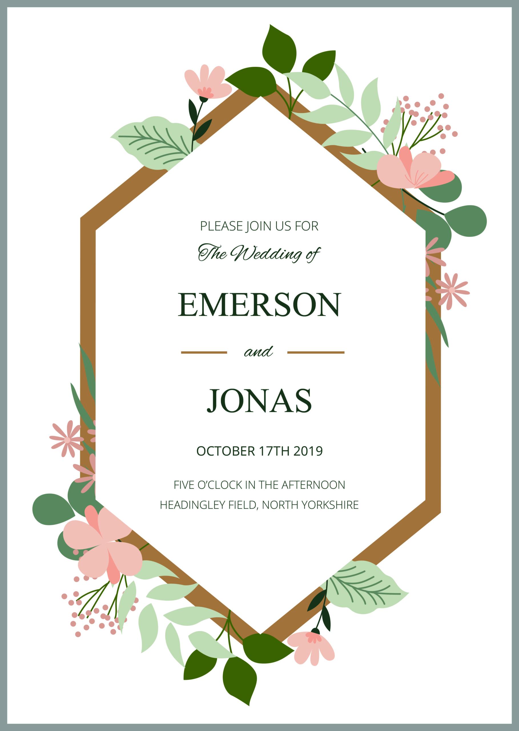 5 Free Wedding Invitation Template Cards - Printable And Editable PSD