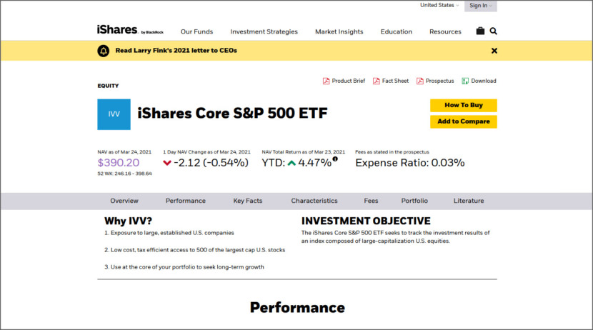 iShares Core S&P 500 ETF